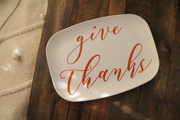 Give Thanks Melamine Platter Tray