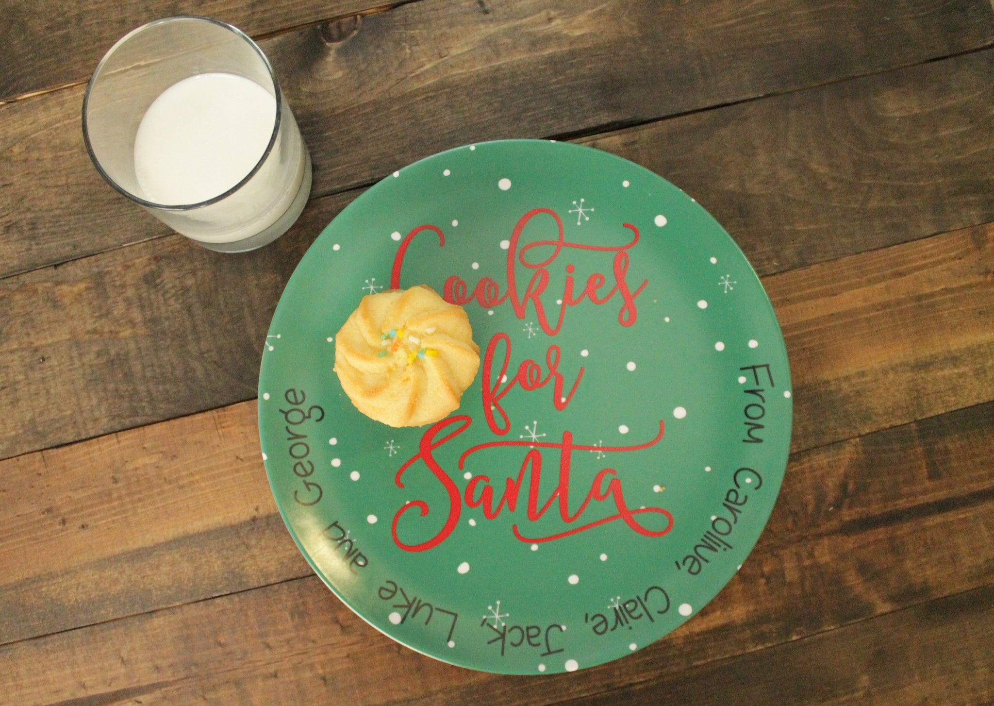 Personalized Cookies for Santa Melamine Plates