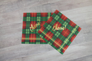 "Tartan ""Cheers!"" Gold Foil Napkins - Plaid"