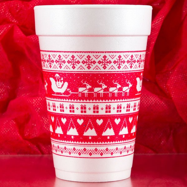 Christmas Sweater Pattern Foam Cups