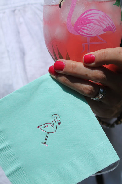 Small Flamingo Foil Stamped Cocktail Napkins