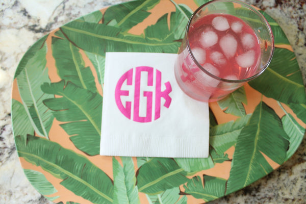 Monogram Beverage/Cocktail Napkins