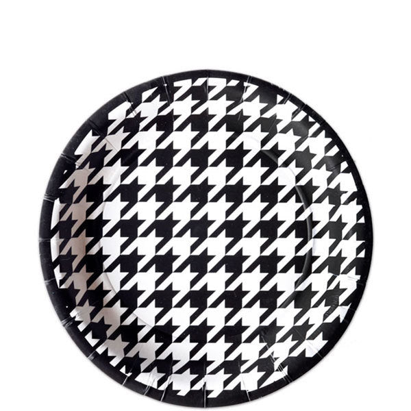 Houndstooth Party tableware, plates, napkins, straws