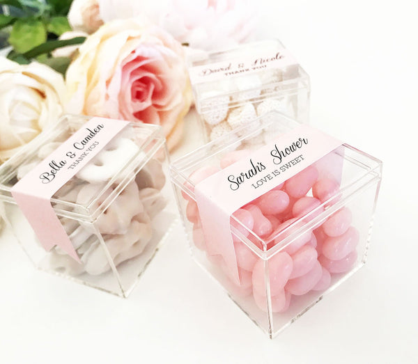 Acrylic Favor Boxes WITH CUSTOM LABEL ~ Wedding, Bridal Shower, Baby Shower, Birthday Party