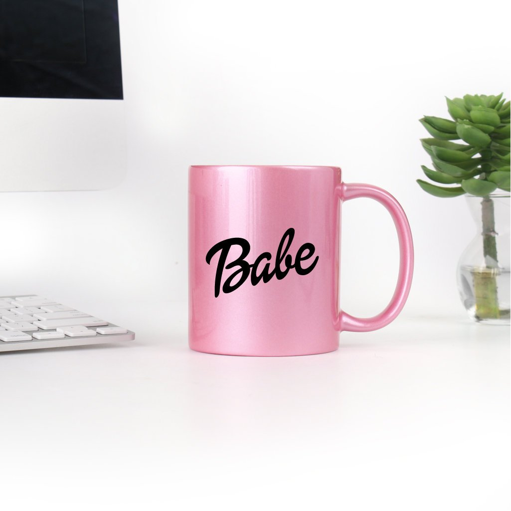 Babe Mug Metallic Pink Mug Girly Script Pretty Pink Shiny Mug Drink Coffee Mug Gift Bachelorette Thirty Women's Gift