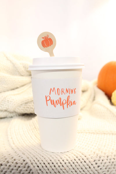 Morning Pumpkin Coffee Sleeves  Hand Lettered Design ~ Pumpkin Spice Coffee Klutch wrap koozie Fall Autumn sleeves - Tulle and Twig