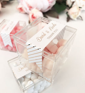 Acrylic Favor Boxes with Custom METALLIC FOIL Label ~ Wedding, Bridal Shower, Baby Shower, Birthday Party