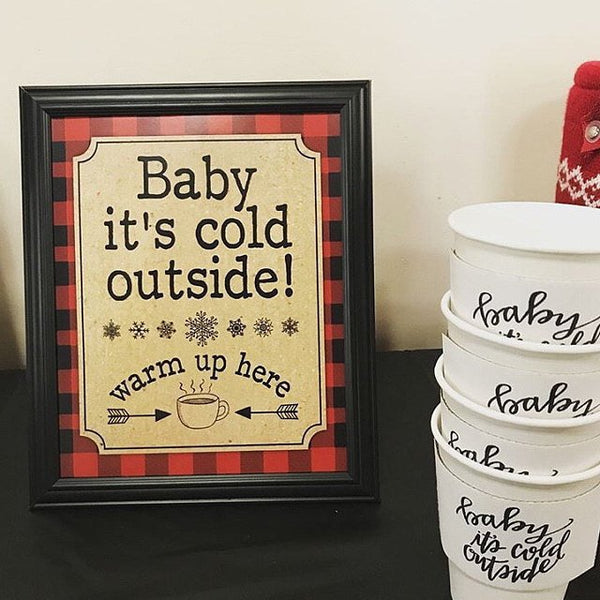 Baby It's Cold Outside Coffee Sleeve  Christmas Winter Baby its cold outside Coffee Klutch wrap koozie - Tulle and Twig