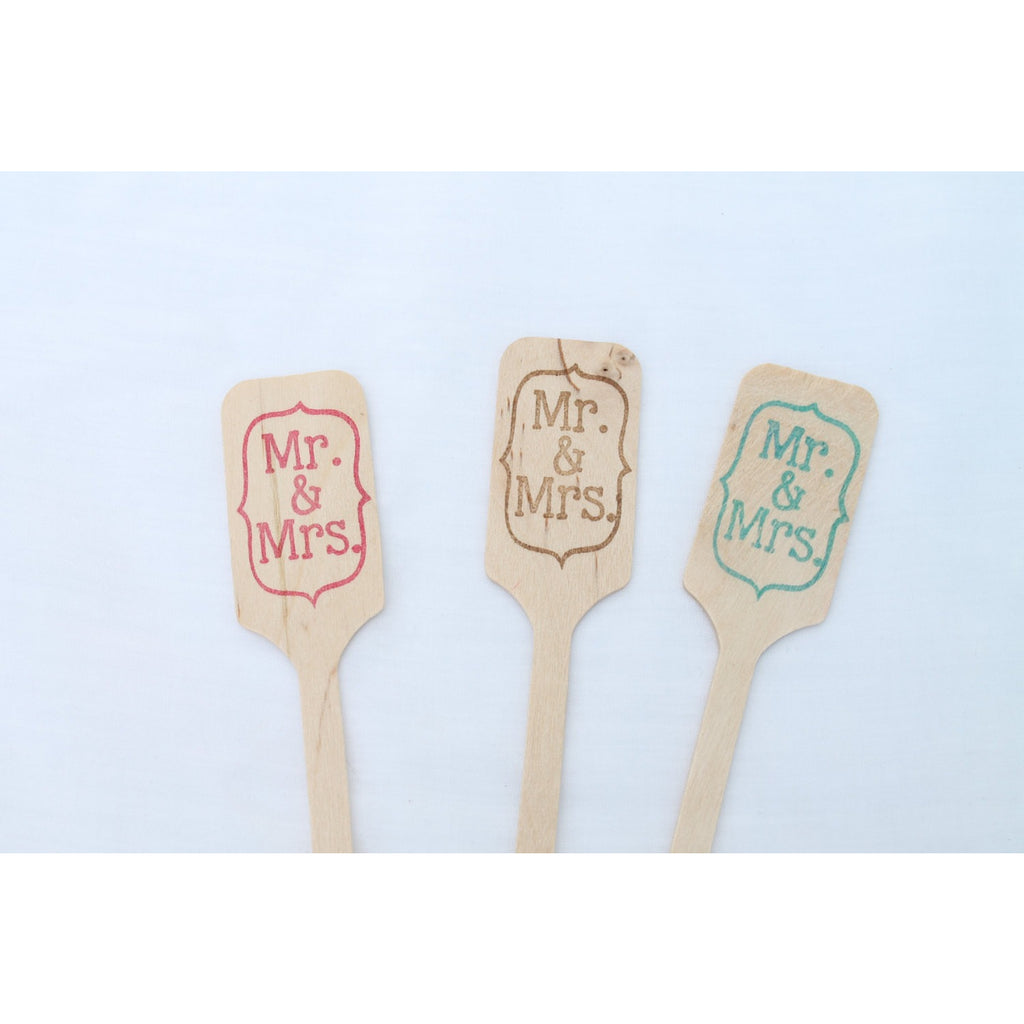 Mr. & Mrs.  -  Wooden Coffee or Drink Stirrers Great for Weddings  ANY COLOR - Tulle and Twig