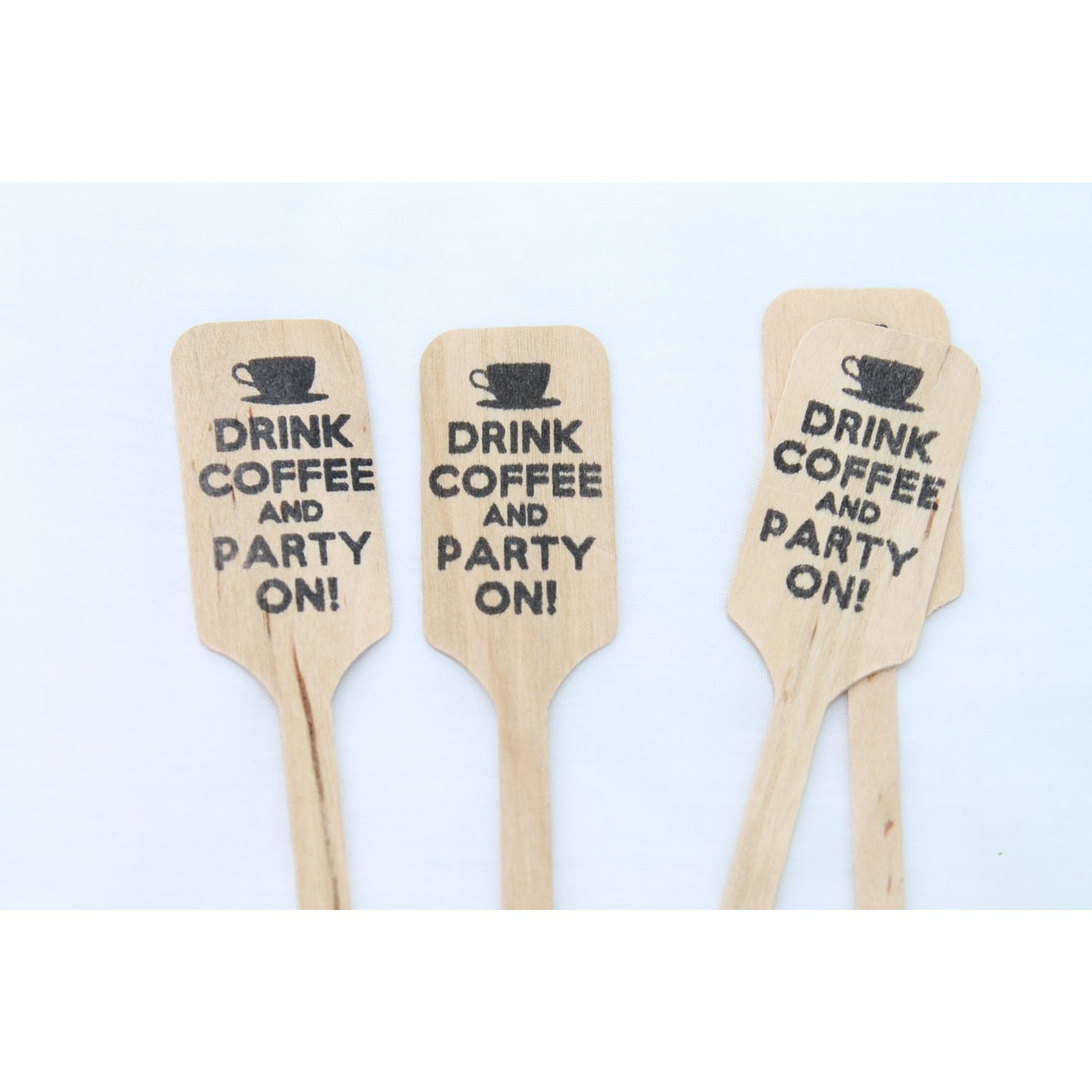 Drink Coffee and Party On  -  Wooden Coffee or Drink Stirrers Great for Weddings - Tulle and Twig