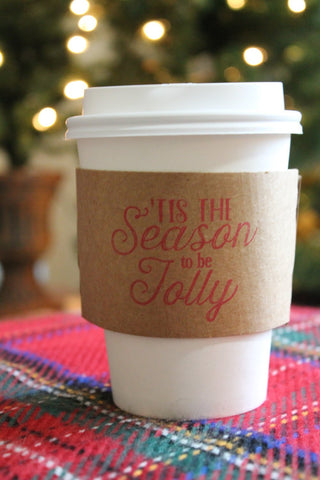 Tis the Season to be Jolly Christmas Theme Coffee Sleeves