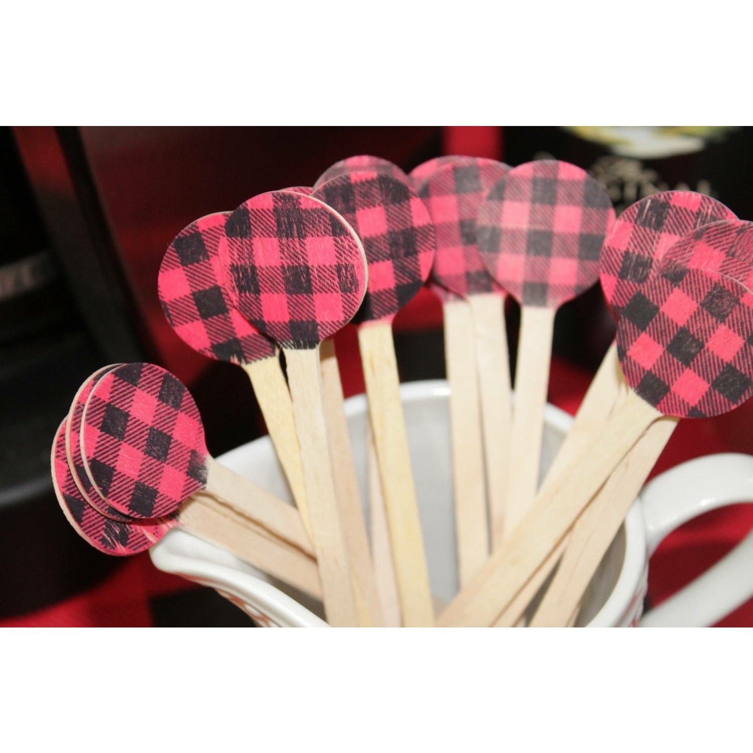 Buffalo Plaid Wooden Drink Stirrers ~ perfect for Lumberjack and woodland theme parties - Tulle and Twig