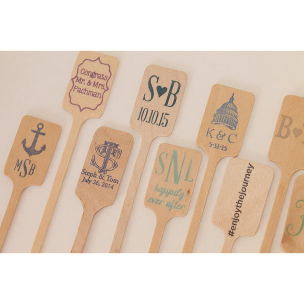 50 CUSTOM Wooden Drink Stirrers Great for Coffee Bars and Weddings - Tulle and Twig