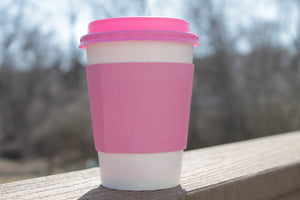 12 oz Coffee Cups with PINK lids and PINK sleeves