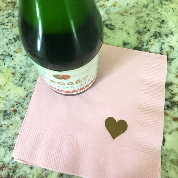 25  Heart Cocktail/Beverage Napkins With gold foil FREE SHIPPING - Tulle and Twig