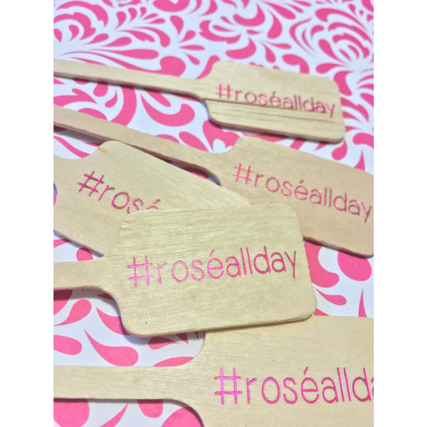 Rosé All Day Drink Stirrers in pink foil #roséallday - Tulle and Twig
