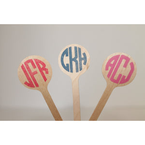50 CUSTOM  MONOGRAM Wooden Drink Stirrers Great for Coffee Bars and Weddings - Tulle and Twig