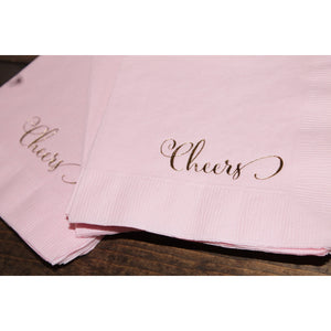 25  Cheers Script Cocktail/Beverage Napkins FREE SHIPPING - Tulle and Twig