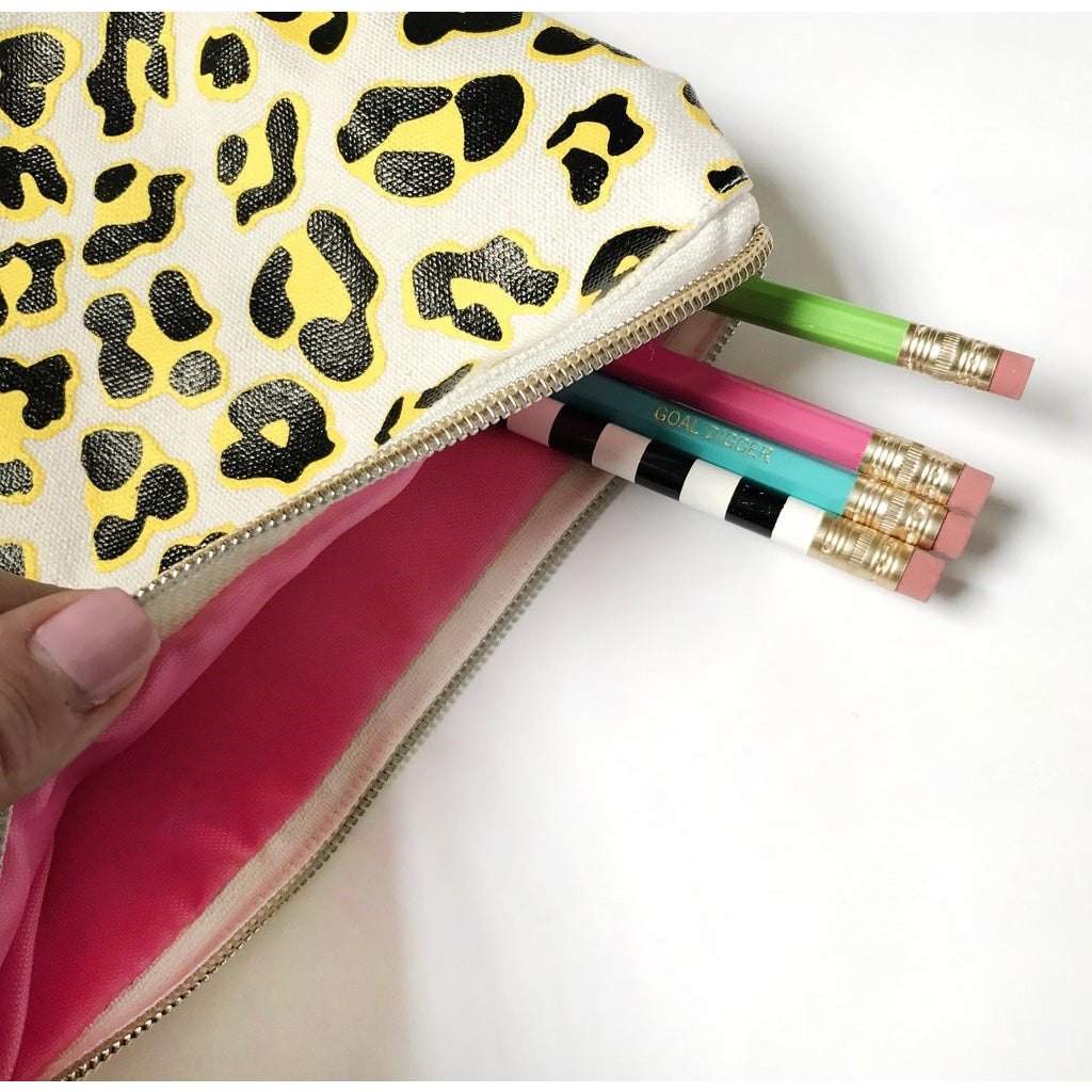 Leopard Pouch with Tassel and Pom Keychain - Tulle and Twig