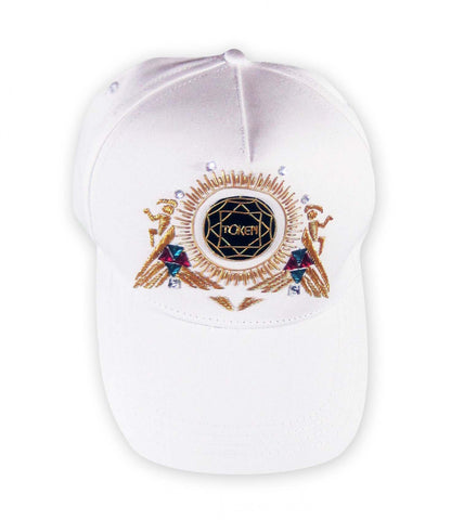 Hand Embroidered Cap - WHITE