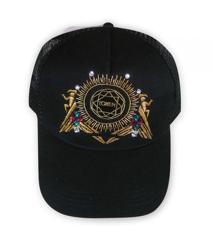 Hand Embroidered Cap - BLACK