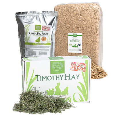 3rd Cut Timothy + Guinea Pig Food Pellets + Bedding,bundles:Smallpetselect