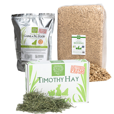 2nd Cut Timothy + Guinea Pig Food Pellets + Bedding,Bundles:Smallpetselect