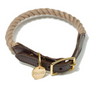 Cotton Rope and Leather collar - dark tan, comfy and durable, dog collars and leashes:Smallpetselect