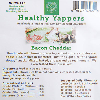 Healthy Yappers, Bacon Cheddar - human grade, and hand-made!, dog treats and chews:Smallpetselect