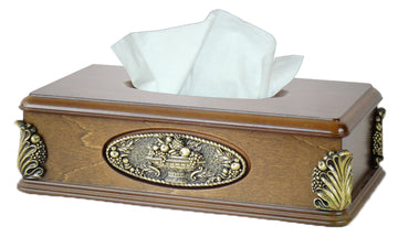 Classic Wood Tissue Box Holder with Gold Plaque
