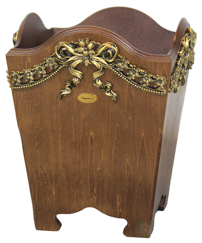Elegant Wood Wastebasket / Trash Bin with Gold Bow