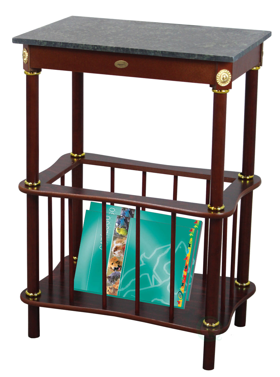 Green Marble Top Wooden End Table with Magazine Holder