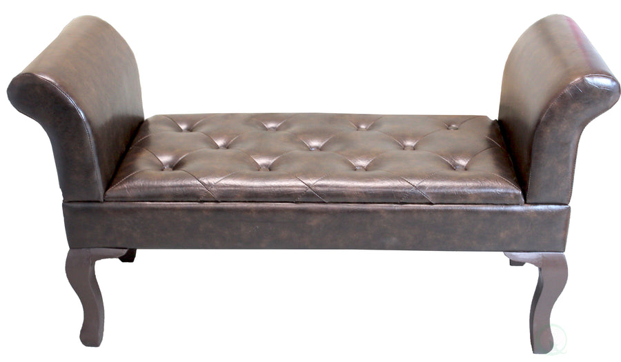 Brown Faux Leather Bed-End Bench