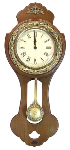 Classic Wood Wall Clock with Swinging Pendulum