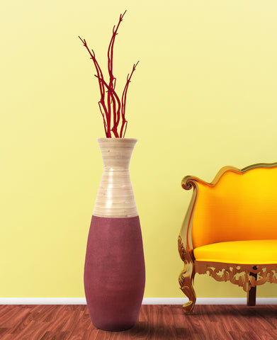 "31.5"" Tall Handcrafted Bamboo Floor Vase, Burgundy and Natural"