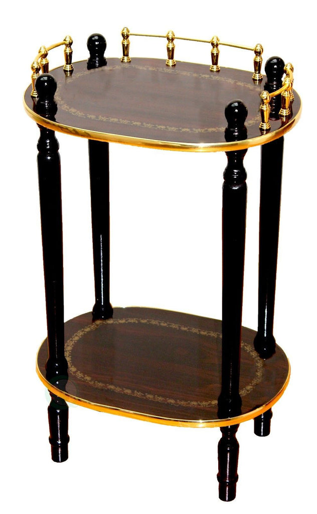 2-Tiered Telephone Table-Gold Marble and Cherry Finish
