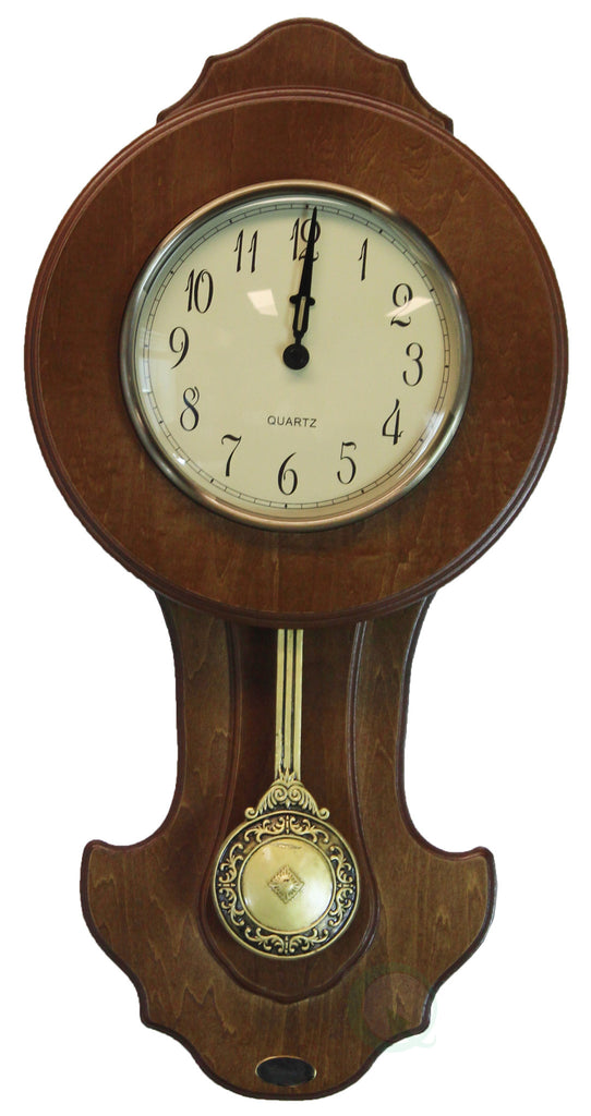 Transitional Pendulum Wall Clock Solid Wood Walnut Finish