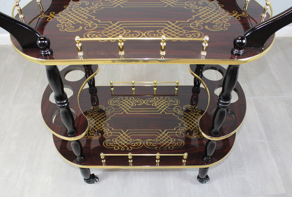 2-Tier Serving Tea Cart-Gold Design Wood Espresso Finish Serving Trolley