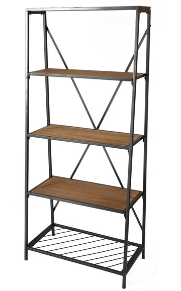 4-Shelf Wooden Bookcase, Wood and Metal Bookshelf
