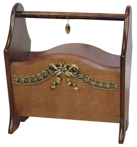 Elegant Solid Wood Magazine Holder with Gold Bow