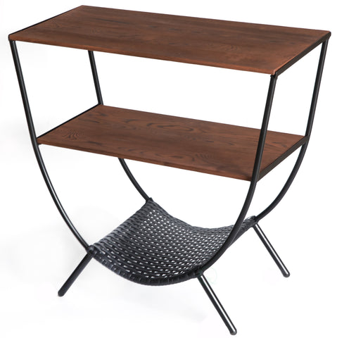 Wood and Metal Console Table with 3 Shelves-Round Accent Table for Living Room TV Stand Console