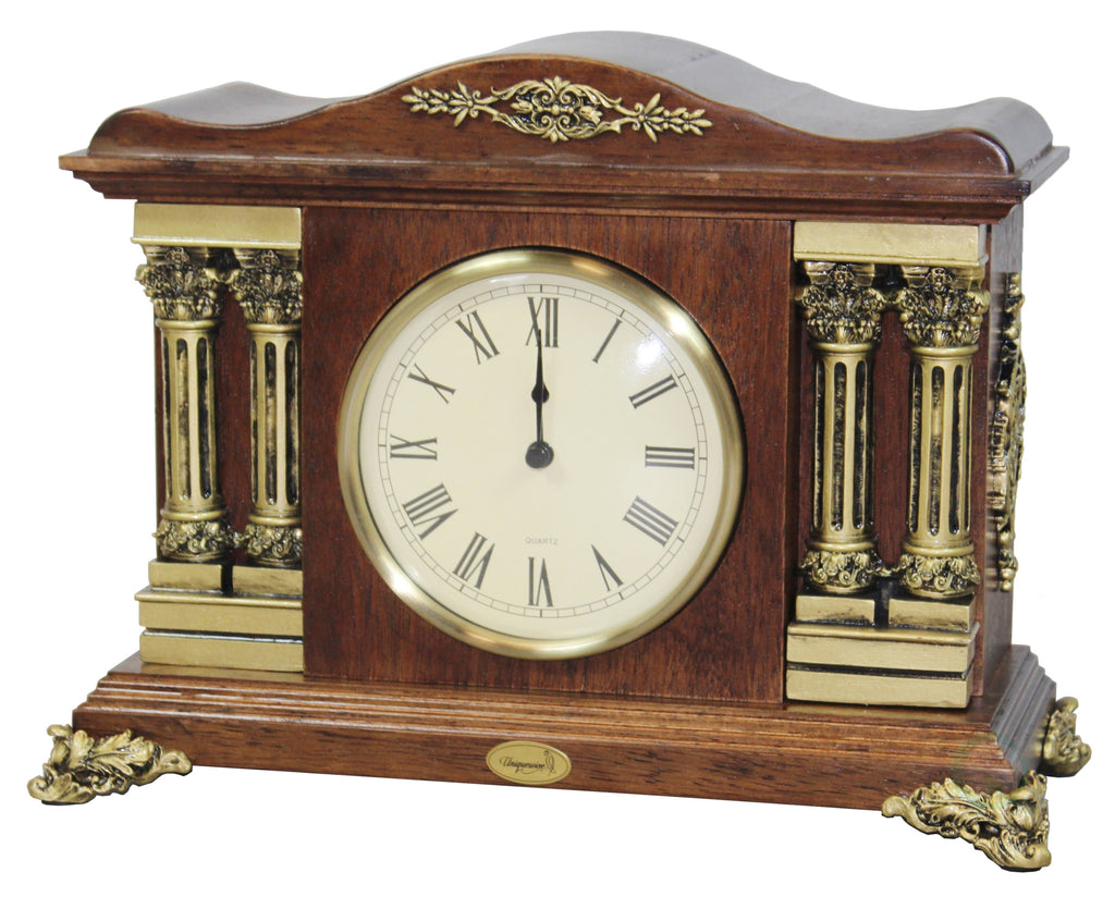 Traditional Desktop Clock with Brown Wood Case
