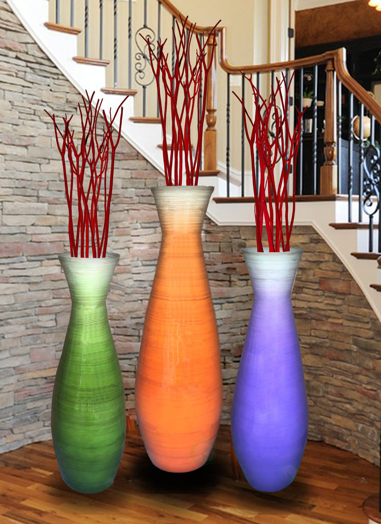 Tall Bamboo Floor Vases, in Orange, Purple, and Green