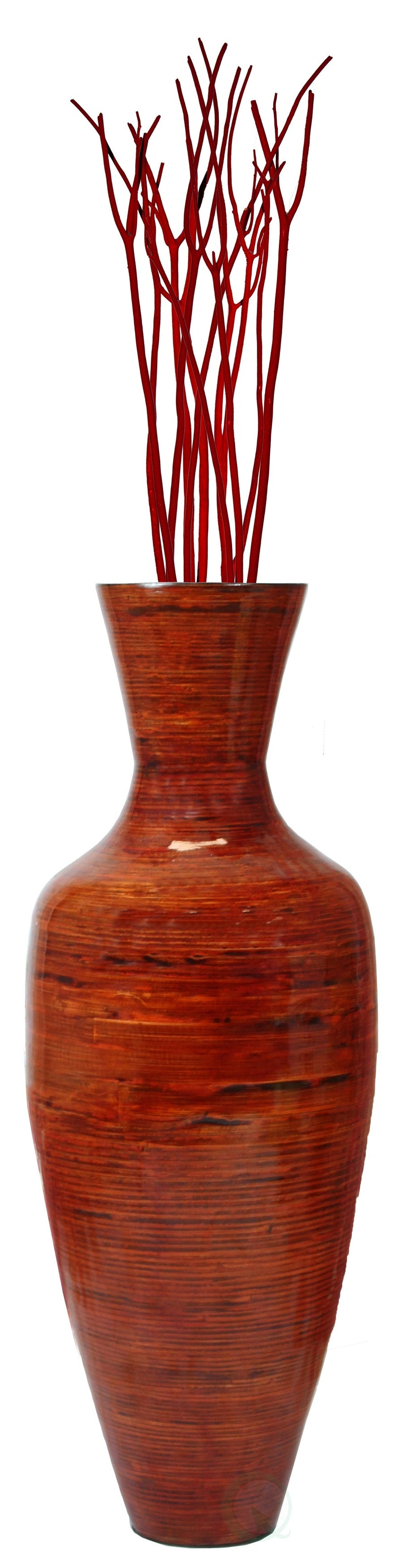 37.5 in. Tall Bamboo Floor Vase, Glossy Red