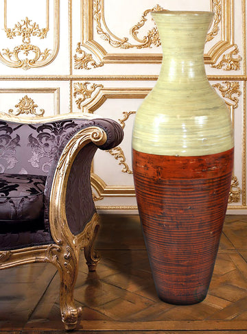 43 in. Tall Bamboo Floor Vase, Red and Natural