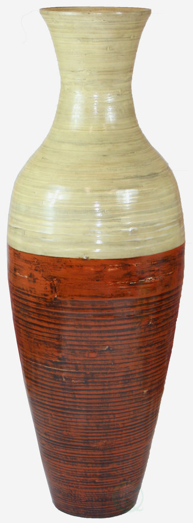 43 Tall Bamboo Floor Vase Red And Natural Uniquewise