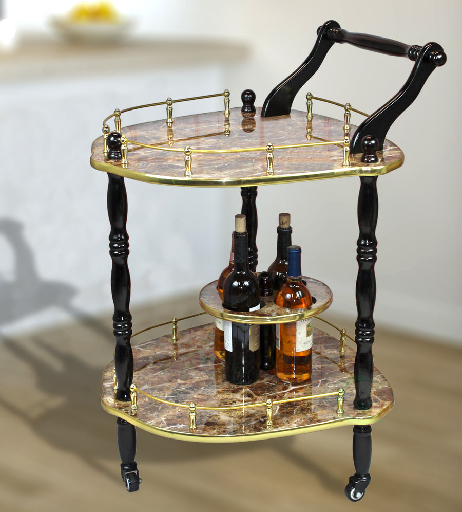 2-Tier Elegantly Shaped Serving Tea Cart-Gold Marble Finish