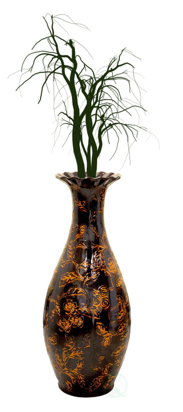 Traditional Brown Trumpet Shaped Floor Vase, 36 in Tall