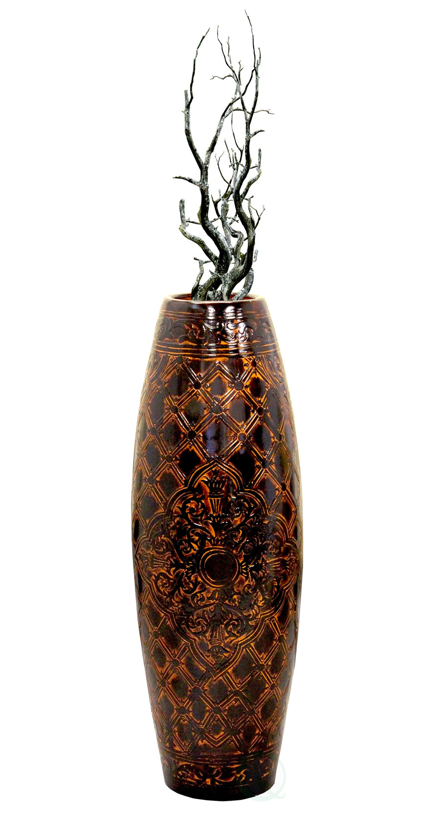 Antique Style Brown Floor Vase, 36
