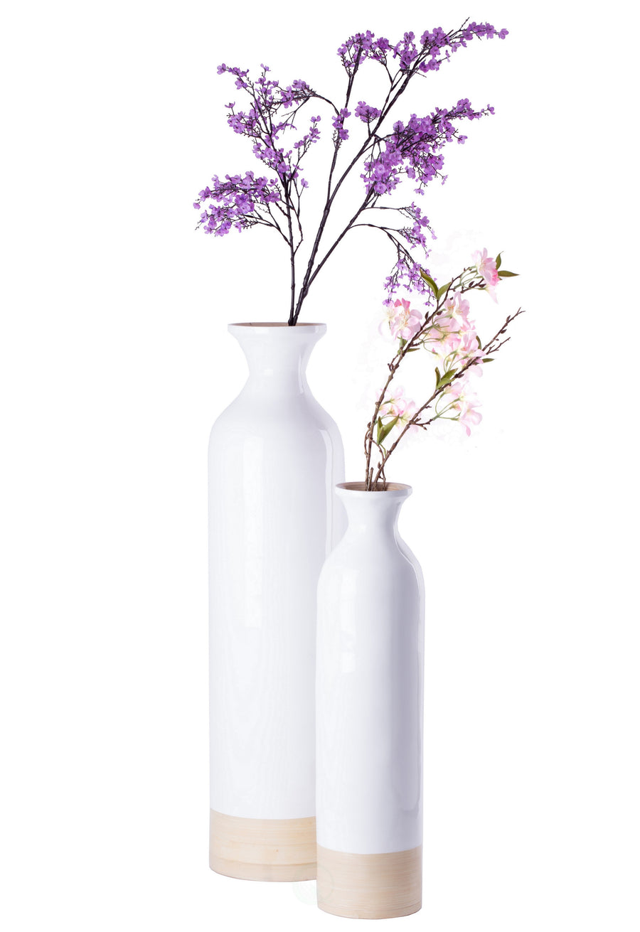 Cylinder Shaped Tall Spun Bamboo Floor Vase Glossy White Lacquer and Natural Bamboo Finish